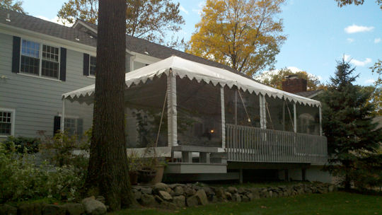20 x 30 Frame Tent on a deck