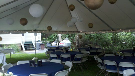 30 x 40 Wedding tent with lanterns