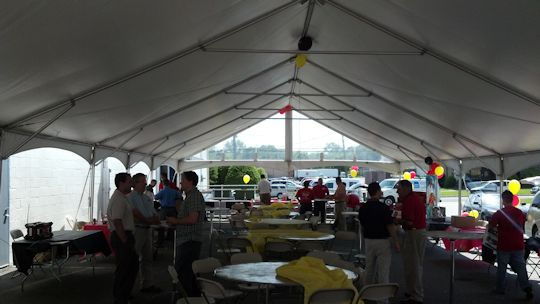 event wrap up inter tent on parking lot