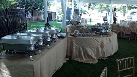 buffet line with carving stations and chafers