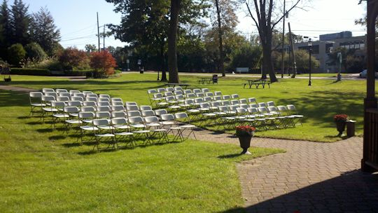 set up chairs at park in caldwell for wedding ceremony
