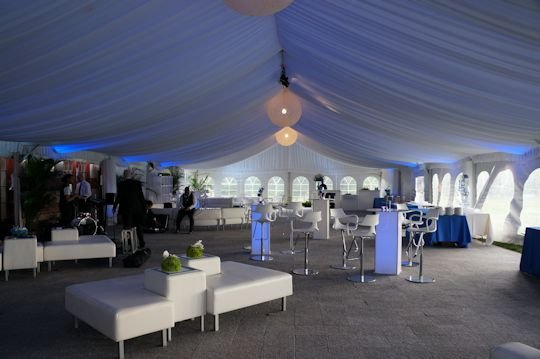 white tent liner with blue hue