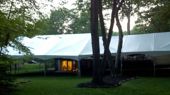 30 x 30 Frame Tent next to 40 x 45 gable
