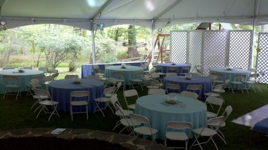 tables and chairs with matching linens