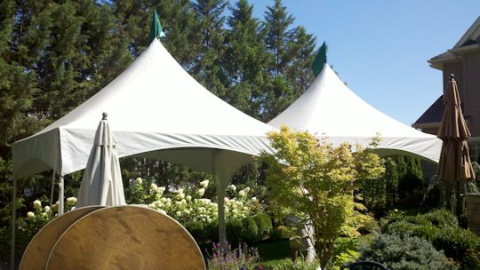 professionally installe high peak frame tents