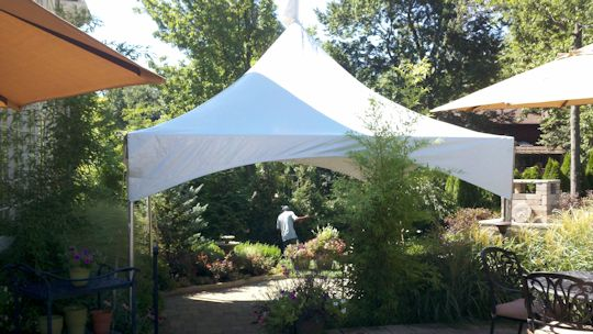 15 ft x 15 ft white high peak frame tent