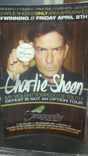 flyer for Charlie Sheen at the DragonFly