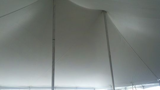 inside of 60 x 60 White pole tent top