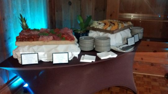 spandex on serpentine table for buffet