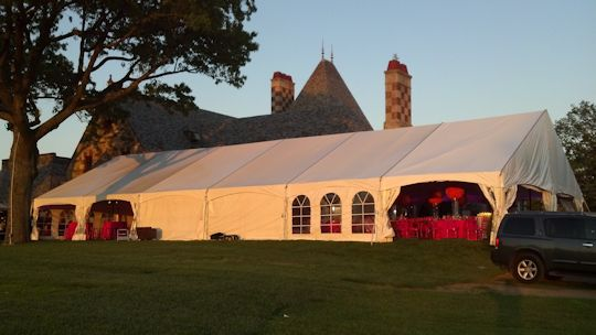 up lit white tent liner with pink LED